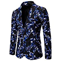 AngelSpace Mens Fit Business Floral Print Premium Select One Button Blazer Jacket As Picture XS