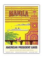 マニラ、フィリピン - アメリカンプレジデントラインズ - ビンテージな遠洋定期船のポスター c.1958 - アートポスター - 23cm x 31cm