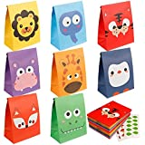 Mocoosy 24Pcs Animal Party Favor Goody Bags, Kraft Paper Candy Treat Bag with Thank You Stickers for Kids Jungle Safari Theme
