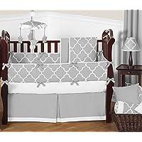 Sweet Jojo Designs 9-Piece Modern Gray and White Trellis Baby Bedding Gender Neutral Girl or Boy Lattice Print Crib Set [並行輸入品]