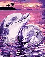 Diyの油絵子供のためのデジタル油絵大人初心者16x20インチ、2頭のイルカ--クリスマスの装飾ホームインテリアギフト (フレーム)
