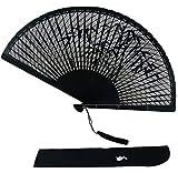 扇子 レディース 透かし彫り 竹製 扇子袋?扇子入れ-【&JuJu】 (黒, 竹)