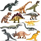 "Prextex Realistic Looking 10"" Dinosaurs Pack of 12 Large Plastic Assorted Dinosaur Figures"