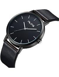 腕時計 メンズユニセックスファッションシンプルウォッチ防水アナログクォーツ本革バンドのドレス (ブラック)