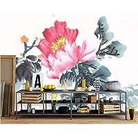 Wuyyii カスタム壁紙中国のインク花家の装飾リビングルームの寝室の壁画詩的なテレビのソファの背景3Dの壁紙-250X175Cm