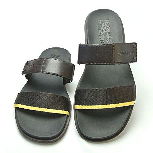 【ferragamo】フェラガモの革靴、シューズのクオリティそのままのサンダル:メンズサンダル ブラウン rough-tmoro
