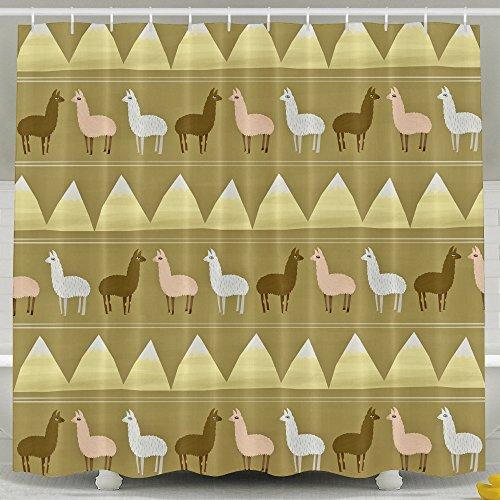 Kawaii Llamas三角形バスシャワーカーテンファブリ...