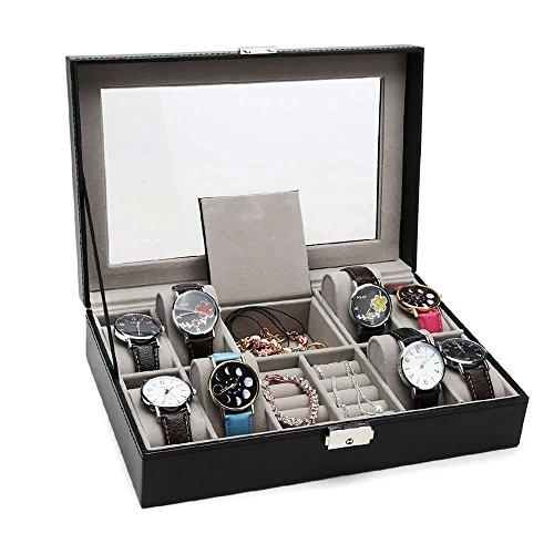 sanadeメンズレディース腕時計ケース、ブラックレザー表示...