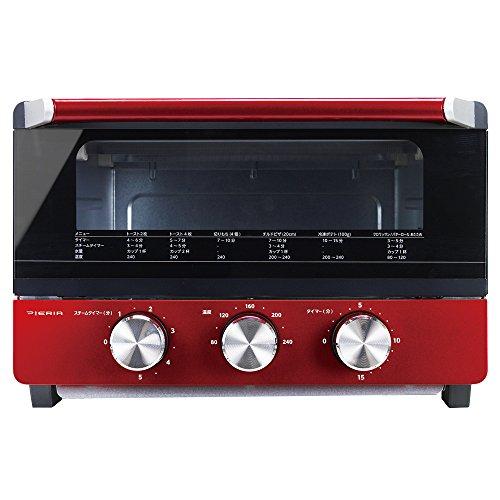 ピエリア BIG スチームオーブントースター 4枚焼き スチームタイマー機能付き 温度調節機能付き OTS-131 RD