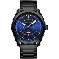 CURREN Men's Watch Stainless Steel Watchband Wristwatches Waterproof Quartz Watches with Calendar for Men 8266 (Black-Blue)