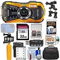 Ricoh wg-50防水/耐衝撃デジタルカメラ(オレンジ) with 32GBカード+バッテリー&充電器+ダイビングLEDビデオライト+ブイハンドル+ケースキット