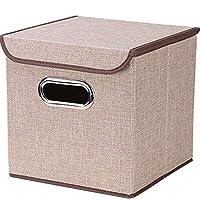 ふたの携帯用容器と大きい収納箱の折る衣服の収納箱 (Color : 褐色, Size : Small)