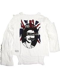 (セディショナリーズ) SEDITIONARIES by 666 MUSLIN TOP (ムスリントップ ガーゼシャツ) BLIND QUEEN+ANARCHY FLAG ホワイト(サラシ色) STM114