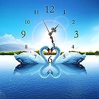 エッジが来る ウォールクロック 現代的なミニマリストのフレームレス絵画の壁時計クリエイティブな絵画の芸術の時計のリビングルーム寝室の装飾を学ぶ白鳥 (サイズさいず : 50 * 50 cm)