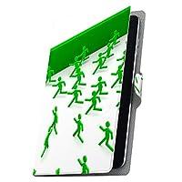 タブレット 手帳型 タブレットケース タブレットカバー カバー レザー ケース 手帳タイプ フリップ ダイアリー 二つ折り 革 非常口 人物 緑 グリーン 008296 MediaPad T3 7 Huawei ファーウェイ MediaPad T3 7 メディアパッド T3 7 t37mediaPd t37mediaPd-008296-tb