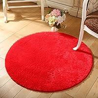 ラグ カーペット ラグマット 絨毯 チェアマット 滑り止め 床暖房 ホットカーペット対応 丸洗い可能 折り畳み可能 オールシーズンタイプ 抗菌防臭 インテリア おしゃれ 円形 直径40cm 9カーラー