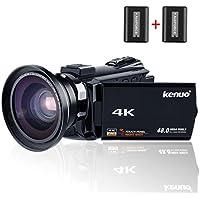 Kenuo デジタル4Kビデオカメラ 2400万画素 超広角レンズ搭載 ワイヤレスカメラ WIFI機能 ホットシュー機能 48MP 16倍デジタルズーム 270度回転 3インチタッチパネル ナイトビジョン機能 SDカード(最大128GB) サポート WIFI搭載 広角レンズ装着可能 バッテリー*2 日本語説明書&1年間の保証付き