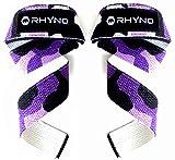 RHYNO(ライノ) リストストラップ リフティングストラップ/トレーニング 筋トレ サポーター/選べる色 (パープル迷彩)
