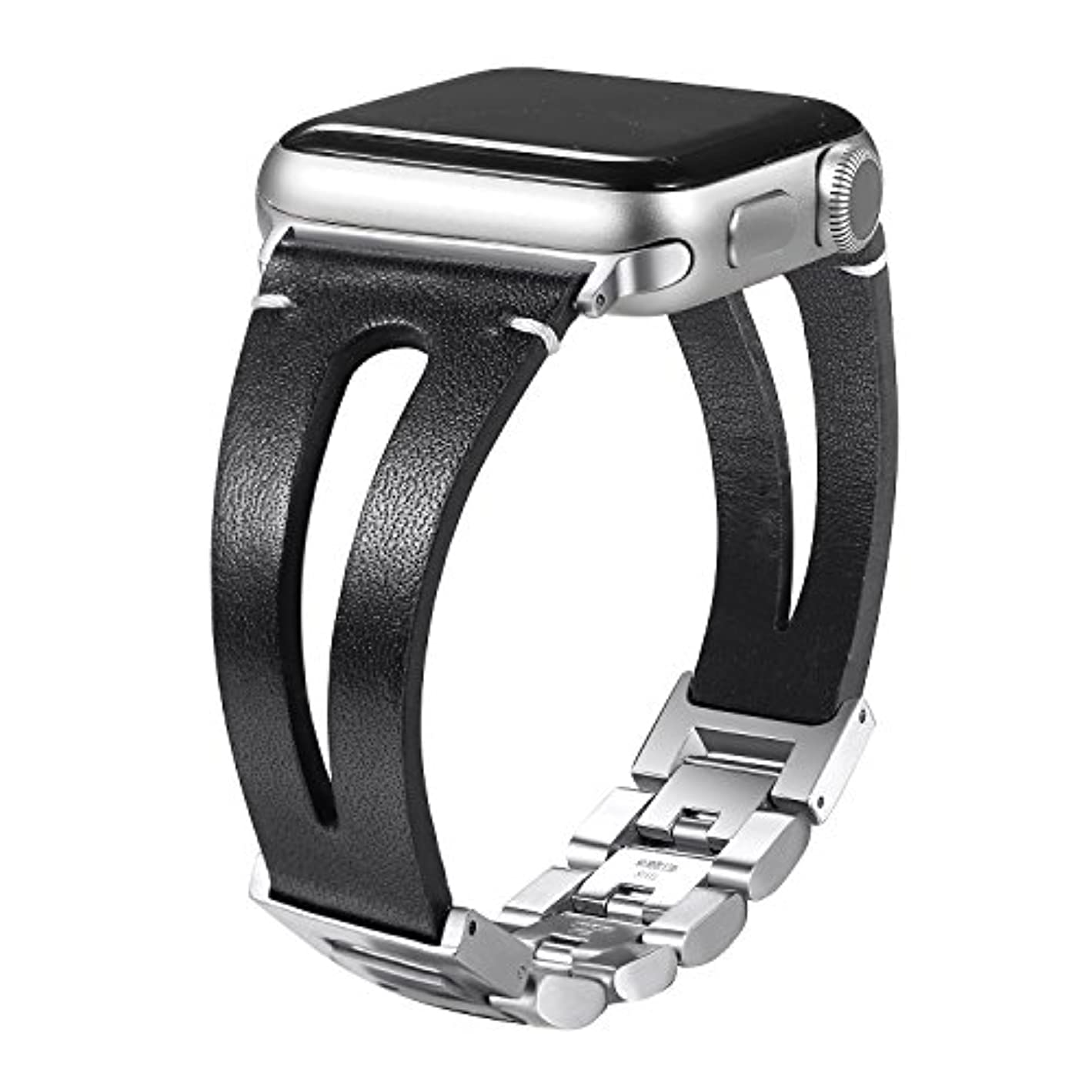 ゲームアプライアンス用語集secbolt用レザーバンドApple Watchバンド38 mm 42 mmハンドメイドヴィンテージレザーブレスレットストラップfor Apple Watch Nike +シリーズ、3シリーズ2、シリーズ1、スポーツ、Edition、調節可能なスチールクラスプ付き