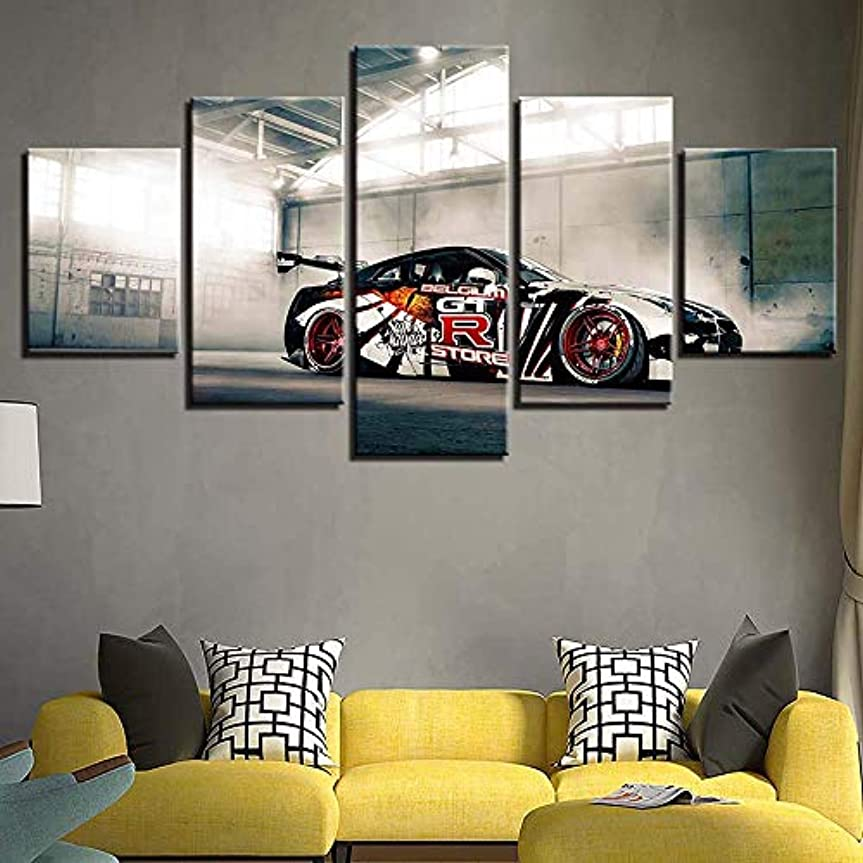 ペレグリネーション意図的第四キャンバスウォールペインティングキャンバスアートスポーツカーペイントキャンバス5ピースリビングルームベッドルーム、B、10x15 * 2 + 10x20 * 2 + 10x25 * 1の現代アートワークホームデコレーション