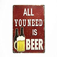 DL-ALL YOU NEED IS BEER metal sign Wall Vintage Metal Craft Pub garage modern wall art decor
