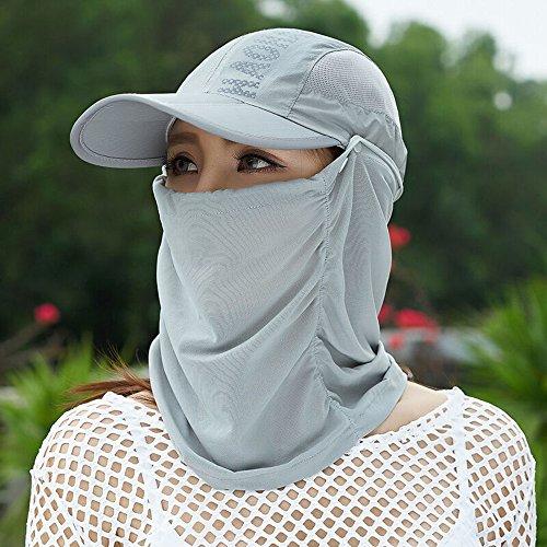 Bwiv 日よけ帽子 折り畳み フェイスカバー UVカット フェイスマスク 日焼け防止 紫外線対策 帽子 通気 薄地 取り外し 調節可能 アウトドア作業 ウォーキング スカイグレイ