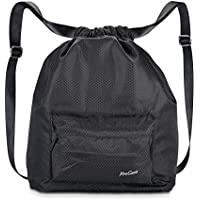 Procase Swimming Bag Gym Sack, Water-Resistant Drawstring Backpack Unisex Sports Gear Bag For Swimming, Surfing, Hot Spring, Travelling, Hiking And Camping -Black