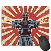 マウスパッド 剣道 日本 文化 グレー ゲーミング オフィス最適 おしゃれ 疲労低減 滑り止めゴム底 耐久性が良い 防水 かわいい PC MacBook Pro/DELL/HP/SAMSUNGなどに 光学式対応 高級感プレゼント Tartiny