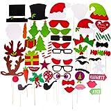 クリスマスフォトブース小道具 50個 DIY クリスマス写真ブース スティック付き 面白いクリスマス自撮り小道具 大人 子供 クリスマステーマ パーティー記念品 デコレーション用品