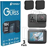 Tersely Screen Protector & Lens Cover for GoPro Hero 7 (2018) /6/5, (3 Pack) Premium 9H Hardness Tempered Glass Screen Lens Protector Front + Back Glass & Lens Cover Cap for Go Pro Hero7 Hero6 Hero5
