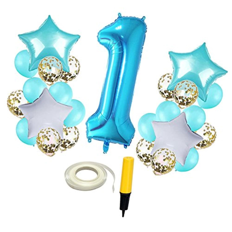 Baosity バルーンセット 風船 番号 1歳誕生日 お祝い 記念写真 会場飾り 部屋装飾 全2色 - 青