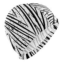 DMHYJ スイムキャップ 黑白三角形 スイミングキャップ 水泳帽 競泳 トレーニング 柔らかい 伸縮性良い 着脱簡単 滑り止め 大人用 メンズ レディース 男女兼用 防水