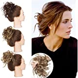 SEGO Tousled Updo Messy Bun Hair Piece Scrunchies Synthetic Wavy Bun Extensions Rubber Band Elastic Scrunchie Chignon Instant Ponytail Hairpiece for Women Natural Blonde