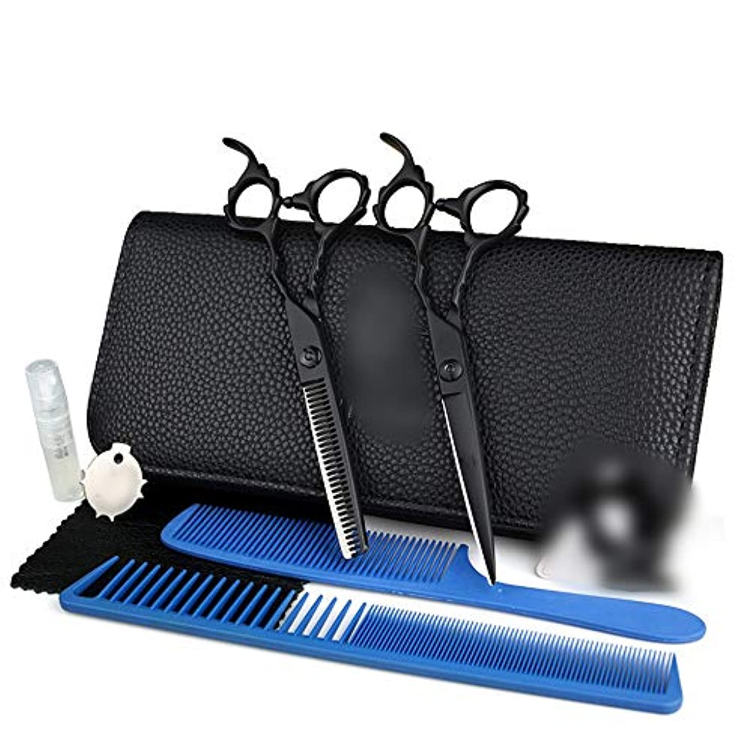 Goodsok-jp 6.0インチの毛の専門の黒く平らな歯のはさみははさみ用具を置きました (色 : 黒)