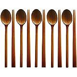 SODIAL Handmade Jujube Tree Wooden Korean Dinnerware Combinations Utensil,5 Set of Spoons and Chopsticks
