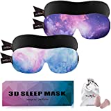PrettyCare 3D Sleep Mask with 2 Pack, Eye Mask for Sleeping - Contoured Eyemask Blackout - Blindfold Airplane with Ear Plugs,Travel Pouch - Best Night Blinder Eyeshade for Men Women