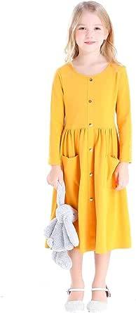 Bow Dream 子供ドレス ワンピース 女の子ドレス カジュアルドレス 長袖 普段着 お出かけ ポケット付き ボタン付きドレス