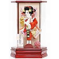 羽子板 コンパクト 花宴 赤 アクリル六角ケース 花振袖 8号 羽子板飾り 初正月 HGBK-30M-11