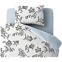 20色柄から選べる! デザインカバーリングシリーズ ベッド用カバー3点セット 柄タイプ シングル リーフ柄×グレー