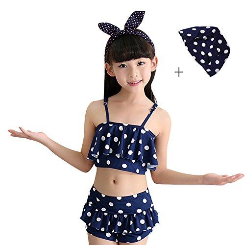 水着 子供 キッズ ジュニア 女の子 セパレート セット 柄 スカート 130 140 150 cm (140-150, ネービー)