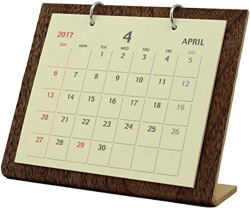 オーブ 2017年 カレンダー 4月始まり 卓上 シンプルウッド S ブラウン WDS-750BR