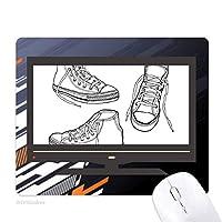 手で塗られたキャンバス靴のイラスト ノンスリップラバーマウスパッドはコンピュータゲームのオフィス