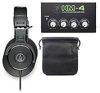 Audio - Technica ath-m30Xスタジオモニターヘッドフォン+ 4ウェイ分配アンプ