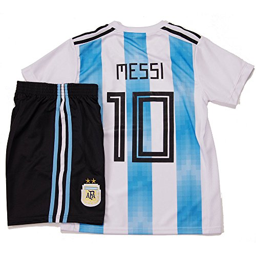 MESSI メッシ #10 アルゼンチン代表 2018W杯 ホーム 子供用ノーブランド ホーム ユニフォーム パンツセット (S) [並行輸入品]