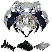 9FastMoto suzuki スズキ 2005 2006 K5 GSXR1000 GSXR 1000 05 06 GSX R1000 K5 用フェアリング オートバイフェアリングキット ABS 射出成形セット スポーツバイク カウル パネル (ホワイト & ブルー) S0989