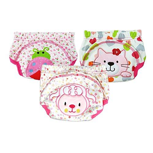 HLMY トレーニングパンツ 3枚組子供ためのおむつ, 柔らかい素材 防水加工 3層洗い替えトイレトレーニングパンツ, 赤ちゃん/幼児に適用(XL/100cm,女の子)