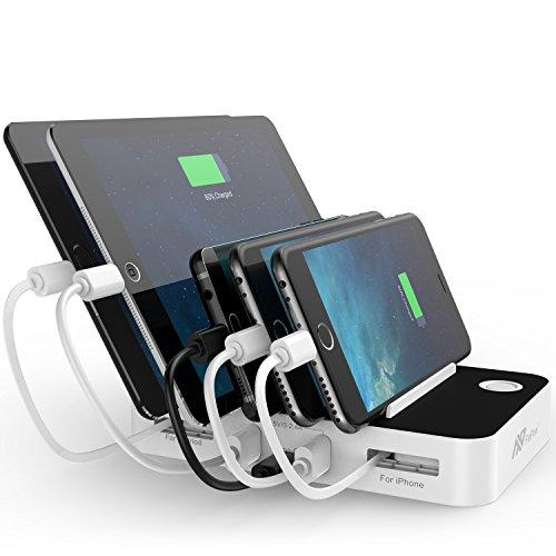 Flepow USB充電スタンド 5ポート 充電ステーション Type-C対応可能 自動巻取式 スマホスタンド 急速充電器 iPhone/iPod/iPad/Androidスマホ・タブレット対応可能 ホワイト(Type-Cケーブル付き)