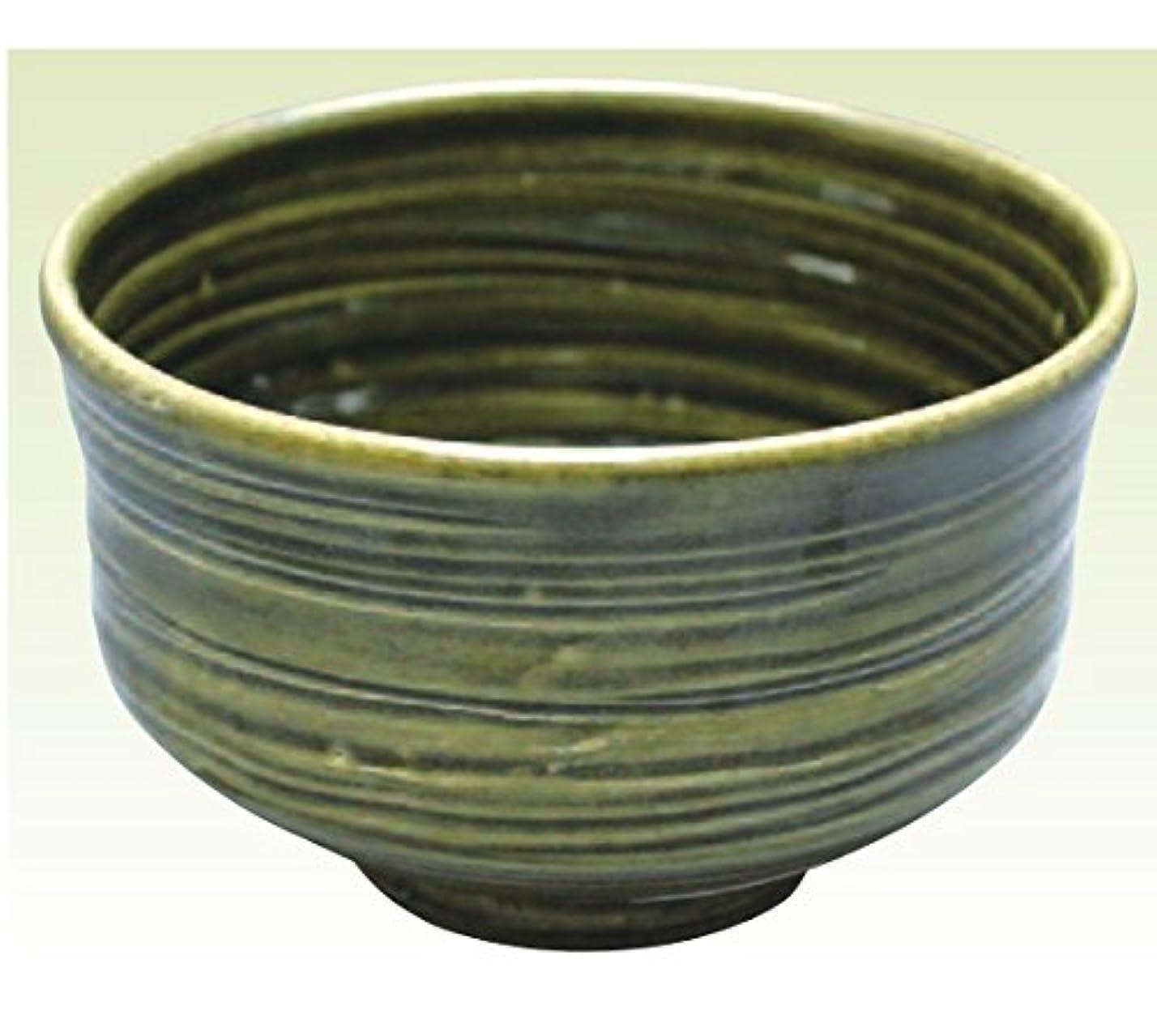 ユーモラスレイア上昇常滑焼 焜清作 抹茶茶碗織部径13×高さ8cm