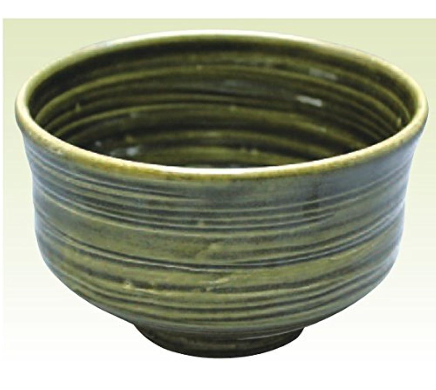 経過防腐剤出血常滑焼 焜清作 抹茶茶碗織部径13×高さ8cm