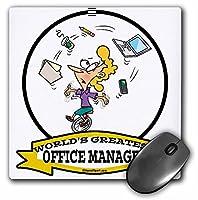 3drose 8x 8x 0.25インチ面白いWorlds Greatest Office Manager Occupationジョブ漫画マウスパッド(MP 103401_ 1)